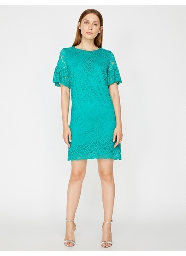 Koton Koton Dantelli Yeşil Elbise Yeşil